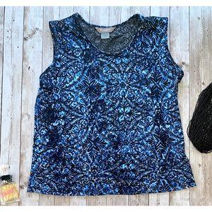 TanJay Tops - TanJay blue black velvet tank top NWOT